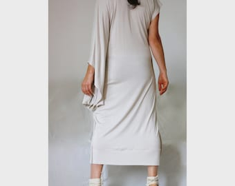 Asymmetric Dress Plunging V Neckile Bodycon Dress Asymmetric Caftan symmetric Sleeves Dress Cotton Jersey Dress Featuring Front Slit Dress