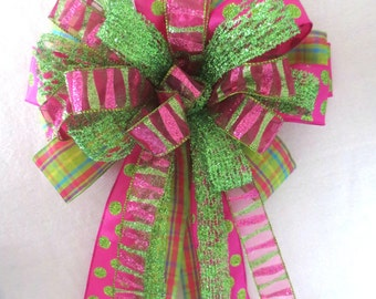 Easter Bow / Pink and Green Bow / Pink Lime Bow