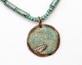 Beloved Mixed Media Pendant Necklace MIxed Media Jewelry Teal Bead Necklace Short Boho Pendant Inspirational Recycled Repurposed Hippie