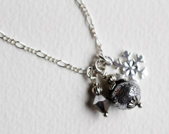 Silver Bead Necklace Snowflake Beaded Jewelry Sparkle Holiday Frozen Winter Gray Grey