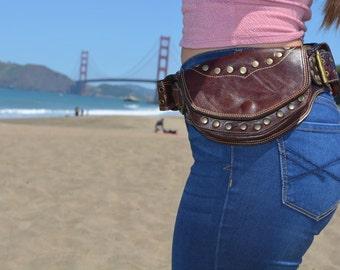 Sale Dark Brown leather sycamore style utility belt/ pocket belt/ belt bag/ festival belt/burning man belt