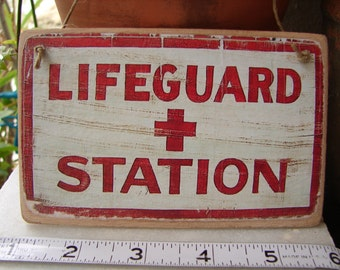 Lifeguard station, small, fun summer sign,, vintage style beach sign image sealed onto wood,string hanger