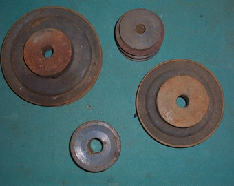 Old Antique Industrial Decor Steel and Iron V Belt Pulleys/Cogs (4)...Steampunk Machine Art....