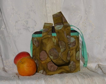 Lunch bucket lunch pail lunch tote cotton fabric bag again fun purse fun tote purple and green bag again
