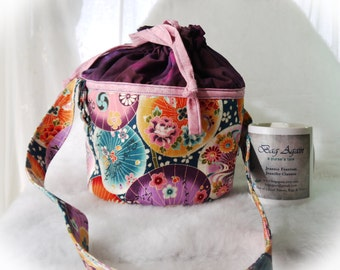 Lunch Bucket, Lunch Pail, Cloth Lunch Bag, Asian Print Lunch Tote, Drawsrtring Bag, All New Fabric Bag Again, Reusable Lunch Bag