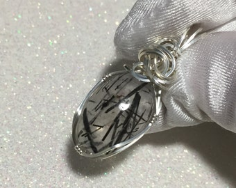 Black Tourmalated Quartz Pendant Rutiled Sterling Silver w/ necklace 18ct 1320s5
