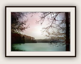 Foggy Lake Waterscape Landscape Peaceful Tranquil Zen Nature Landscape Pale Pink Blush Mint Aqua Teal Black Fine Art Photography Print