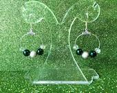 Green Pearl Crystal Hoop Earrings with Silver colour sparkle bead Drops-Hoop Earrings-Gifts For Her-Ladies Gift-Handmade Earrings