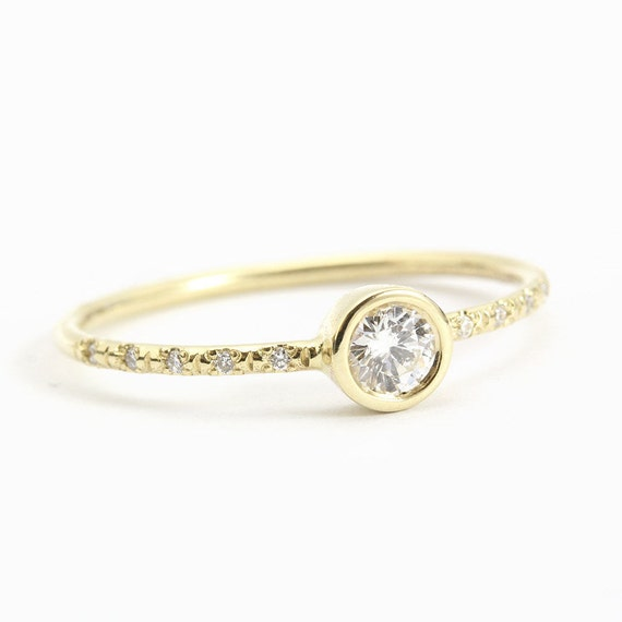delicate engagement ring 14k thin gold ring by