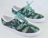 Sea Foam Green & Gold Tropical Floral Nike SB Stefan Janoski - Custom Hand Painted