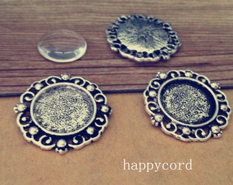 10pcs 18mm Antique silver tray charm with glass