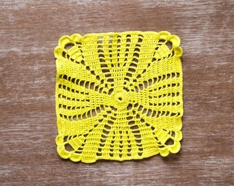 Lime green square Crochet Doily hand dyed doily Vintage doily