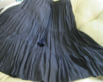 vintage slate (very dark charcoal grey) rayon circle/gypsy/boho/hippie/maxi skirt by Neiman Marcus . . size medium . . . excellent condition