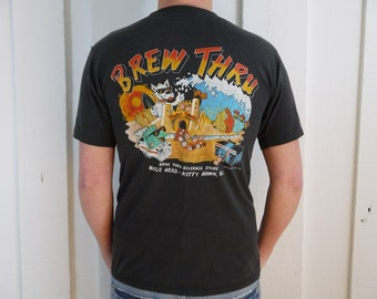 Vintage 1990 Brew Thru T Shirt Outer Banks