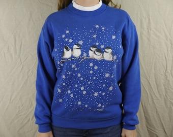 Vintage Winter Birds Snowflakes Sweatshirt