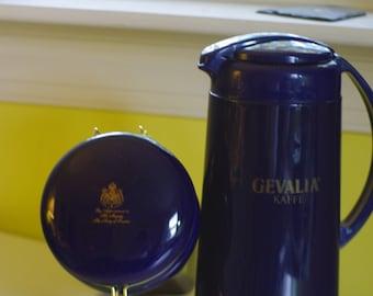 Vintage Gevalia Carafe and Canister in Cobalt