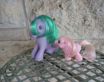 My Little Pony Set Vintage Seashell and Newborn Doodles Baby Pony 80's Toy MLP My Little Pony Doll