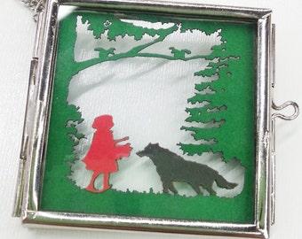 Little Red Riding Hood Papercut Glass Locket Necklace | Laser Cut Jewelry | Glass Locket