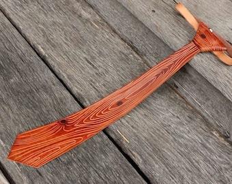 Hand Tooled Wood Grain Leather Necktie