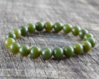 Natural Green Jade Bracelet, Mens Bracelet, Womens Gemstone Bracelet, Bead Bracelet, Stretch Bracelet, Yoga Bracelet, Jewelry, Gifts