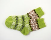 Knitted Wool Socks, Folk Pattern Socks - Light Green, Size Extra Large