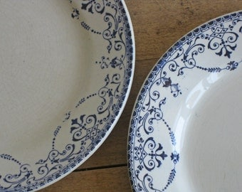 Antique French ironstone dinner plates by H.B & Cie Boulenger Balzac pattern