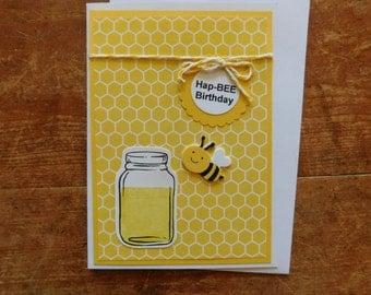 Happy Birthday -Bee Birthday - Honey Birthday - Handmade Greeting Card in yellows with a Bee & Honey mason jar
