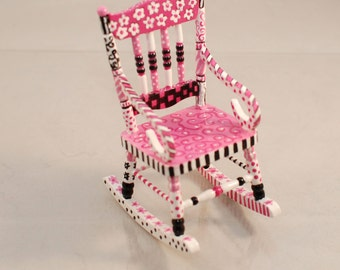 Whimsical PINK & BLACK Rocking Chair 1:12 Dollhouse Miniature Furniture Hand-Painted Flowers Polka Dots