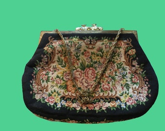 Small Petit Point Style Purse with Chain Handle
