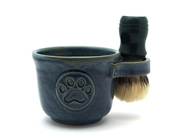 Blue Paw Print Shaving Mug, Pawprint Shave Pottery for Men Fathers Day Husband Gift - Ready to Ship - Brush NOT Included