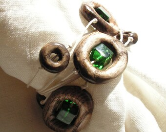 hand carved wooden bracelet with glass green cubes Jewelry in boho style
