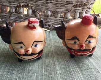 Vintage Hobo Clown Face Salt & Pepper Shakers