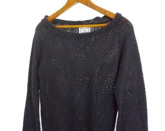 Vintage 80s Knit Sweater Black Womens Rocker Hearts