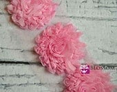1/2 or 1 Yard Increment - Light Pink - The Lily Collection - Sparkle/Glitter Shabby Chiffon Flowers - Shabby Rose Trim - DIY Headband