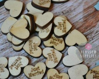 "FLATBACK - Wooden Heart ""Just Married"" Embellishments Confetti 3/4""x 5/8"" - Flower Centers - Wedding Garter Embellishment Wood Supplies Love"
