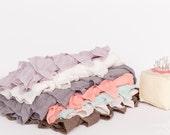Small Ruffle Fabric Scrap Bag - 2 inch Ruffle Fabric Scraps | Approx. 8+ inches each | Pink Purple Mint Peach - item 9