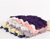Small Ruffle Fabric Scrap Bag - 2 inch Ruffle Fabric Scraps | Approx. 8+ inches each | Grey Yellow Mint Purple - item 12