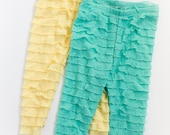 SALE Mint and Yellow Set Ruffle Leggings Size 3T Ready to Ship