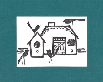 ACEO, Bird Houses, ATC, Art Trading Card, Original Drawing, Ink, Kid Friendly