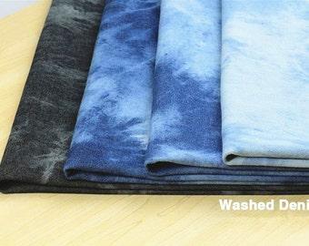 Summer Thick Denim Cotton Fabric, Washed Denim, tie-dye blue denim,diy,Sewing 1/2 yard  (QT570)