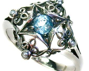 Platinum Sky Blue Topaz & Pearl Ring, Vintage Topaz Ring, Victorian Women's Topaz Pearl Ring, Anniversary, Antique Topaz Ring, Custom R186