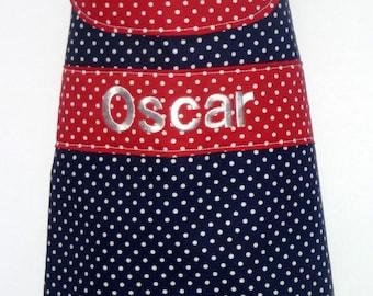 Personalised Dog Coat - Navy & Red Polka Dot