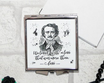 "Edgar Allan Poe Book Mirror, Annabel Lee, ""We loved with a love that was more than love"", Literary Quote, Gothic Book Compact Mirror, UK"