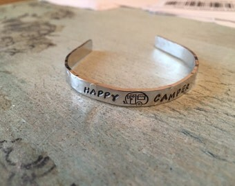 Happy Camper Bracelet. Hand Stamped. Gift for her. Personalized. Air Stream Trailer bracelet. Glamping blacet