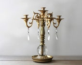 Brass crystal vintage candelabra / Victorian style home decor / dining table decor / French country style / wedding decor / candle holder
