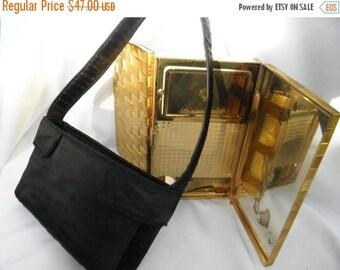 20% OFF Evans 1940's Gold Weave Double Compact w/ Black Satin Purse, Vintage Vanity Purse,