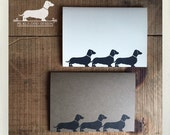 Doxie Train. Note Cards -- (Sausage Dog, Dachshund, Vintage-Style, Brown Kraft Paper, Weiner Dog, Dog Silhouette, Hello, Cute, Card Under 5)