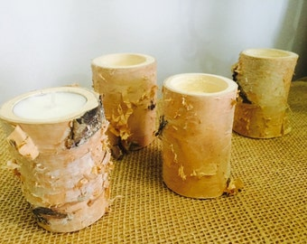 "4 Small Birch Candle Holders, 2"" diameter & 3"" tall - Rare Peely River Birch, holds 1.25"" tea light -"
