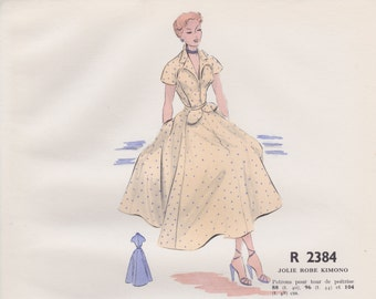Original hand coloured illustration for French paper pattern model - 1950's Beautiful floaty cream dress  # R2384