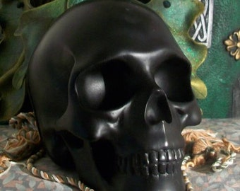 Big BLACK Skull Beeswax Candle